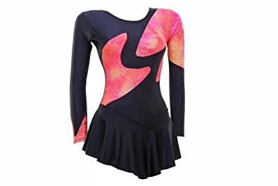 Wholesale Dance Long Sleeve Ice/Skating/Majorette Dress Pink/Coral Tie Dye  Print with Silver Hologram Foil and Black Shiny Lycra (#S100a)