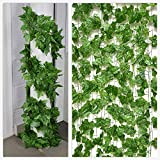 Optima Green Coloured Garlands Ivy Leaves Artificial Creepers for Home and Office Decoration Pack of 5 Strands Each of 7 ft