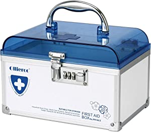 Ollieroo Combination Medication Lock Box with Handle Portable Medicine Storage Box Small Medical Box for Emergency Supplies Blue