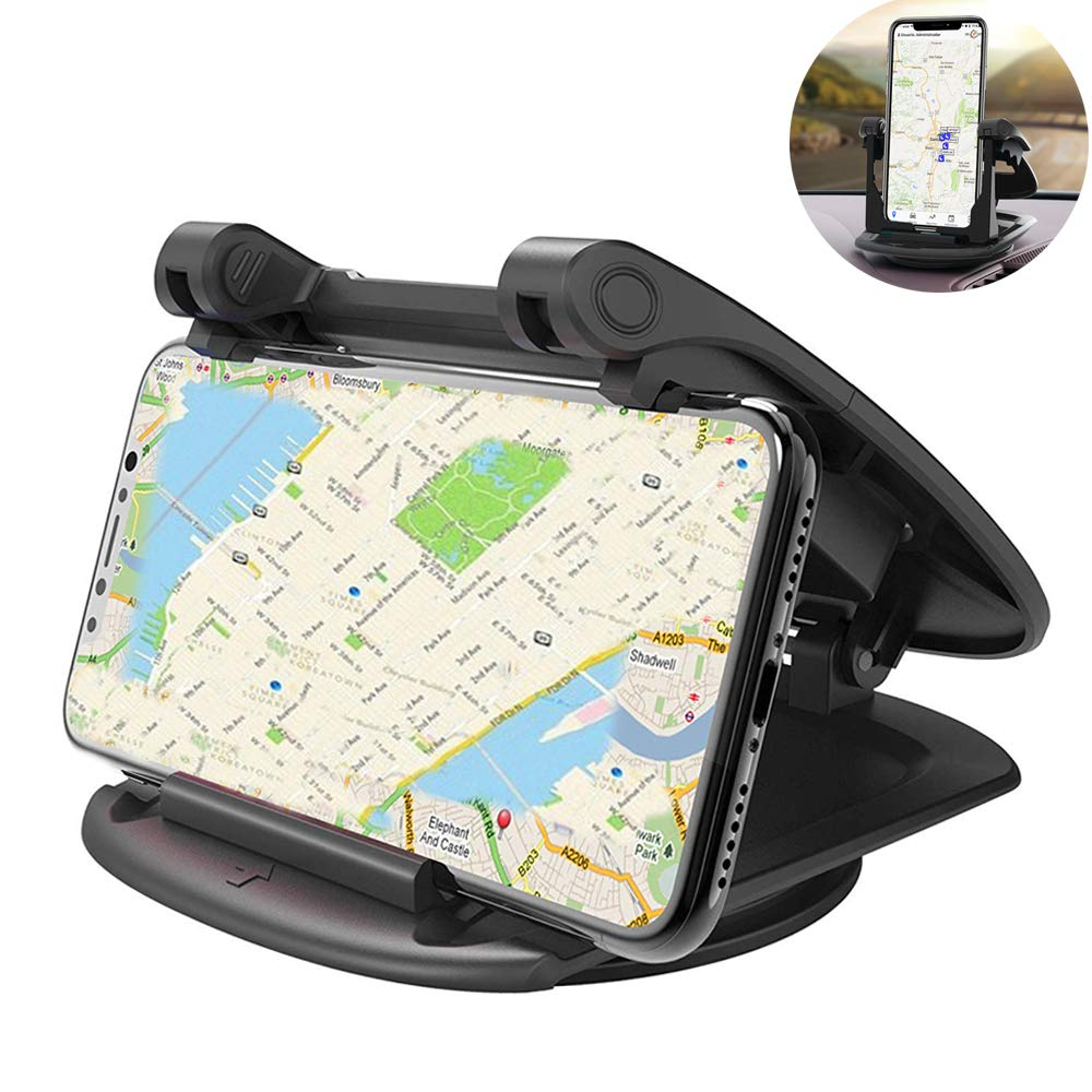 Winique Car Phone Mount, Phone Holder Car 360° Rotatable 2 Sticky Pads Phone Dash Mount Compatible iPhone Xs/X/8 Plus/7 Plus/6/6S Plus, Samsung GalaxyS9/S8 Plus/Note 8/S7 3.5-6.5 Inches Devices