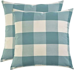 Artcest Set of 2, Decorative Cotton Blend Dyed Bed Throw Pillow Case, Sofa Durable Plaid Pattern, Comfortable Couch Cushion Cover (Peacock Blue, 18 X 18 Inches)