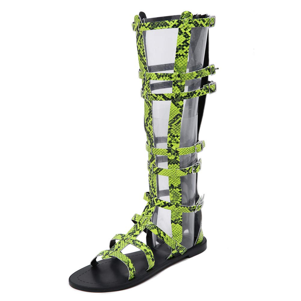 1 Sandals shoes, Womens Knee High Gladiator Sandals Lace Up Strappy shoes Punk Boots Platform Roman Beach shoes