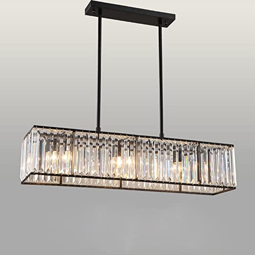 uk availability 2cf01 f46f1 Simple Crystal Rectangle Ceiling Pendant Light,Iron Hanging Pendant Lamp  Chandelier with 3 E27 Bulbs,L85CM W22CM , Black
