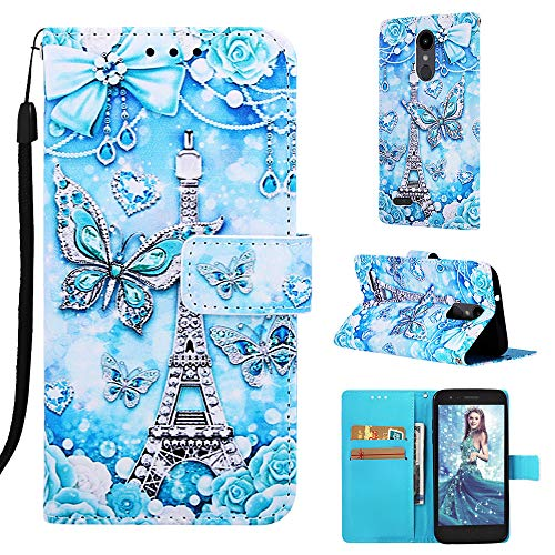 Voanice LG Aristo 3 Case Wallet/Aristo 2/Aristo 2 Plus/Tribute Dynasty/Tribute Empire/Phoenix 4/Rebel 4/Zone 4/Fortune 2/Rebel 3 LTE with Card Slots Holder Kickstand Flip Phone Cover -Butterfly/Tower