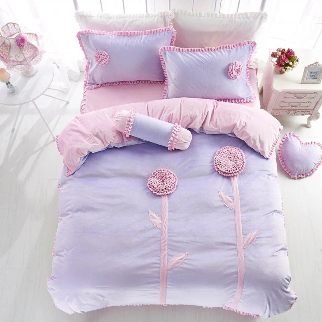 寝具カバーセット ベッド用3、4点セット 布団掛けカバー シーツ 枕カバー 柔らかい 冬用 紫 姫系 フラノ かわいい あったか 子供 新築祝い [Unusual] B01MCTWYTH L L