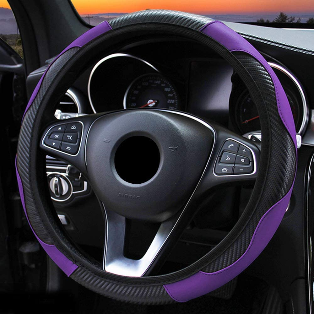 Purple Xmomx Steering Wheel Cover Microfiber Leather Anti-Slip Universal Car Steering Wheel Cover Faux Leather no Inner Ring for Car Accessories Auto Car Without Inner Ring