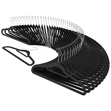 CRESNEL Velvet Clothes Hangers with Accessory Bar for Men's and Women's Suit Coat Clothing - Non-Slip Velvet Surface Keep Clothes Secure - Ultra-Slim Space Saving Design (50 Pieces Pack - Black)