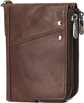 RFID Brieftasche Leder Geldboerse Portemonnaie Reißverschluss Für Herren