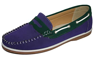 fa58327bff0 Ladies Coolers Faux Nubuck Leather Loafer Slip On Boat Deck Shoes Sizes 4 -  8 (