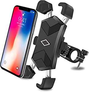 CHYBFU Bike Phone Mount, Bicycle Phone Holder with 4 Telescopic Clamp Arms for Super Stability 360° Rotation Bicycle Phone Mount/Bike Cell Phone Holder for iPhone & Android Between 4.5 to 7.2 inches