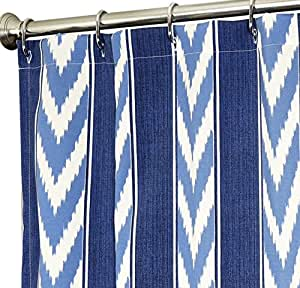 Extra Long Shower Curtain Fabric Shower Curtains 96 Inch Nautical Blue And White Ikat Striped