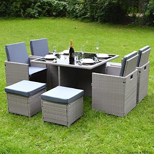 Juego de mesas y sillas Eden Furnishings. Juego de comedor de la Colección Bianchi para exteriores, diseño cúbico, de ratán, 9 piezas, gris: Amazon.es: Jardín