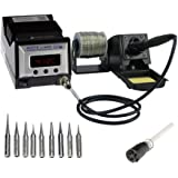 Aoyue 9378 Pro Series 60 Watt Programmable Digital Soldering Station - ESD Safe, includes 10 tips, C/F switchable, Configurab