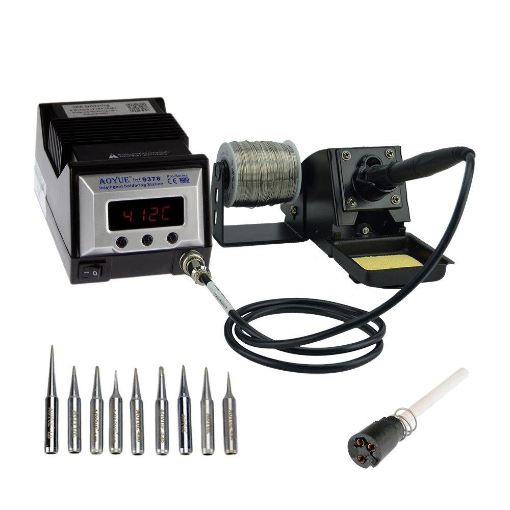 Aoyue 9378 Pro Series 60 Watt Programmable Digital Soldering Station - ESD Safe, includes 10 tips, C/F switchable, Configurable Iron Holder, Plug-in Spare Heating Element