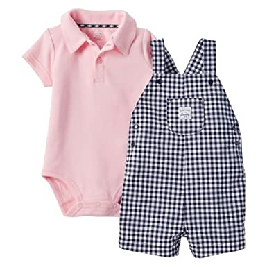 57293e1059c3 Carter s Just One You Baby Boys  Checkered Shortall - Pink Navy (3 Months