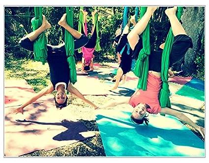 Deluxe Aerial Yoga Hammock (Yoga Swing or Sling, Aerial Yoga) (Kelly Green)