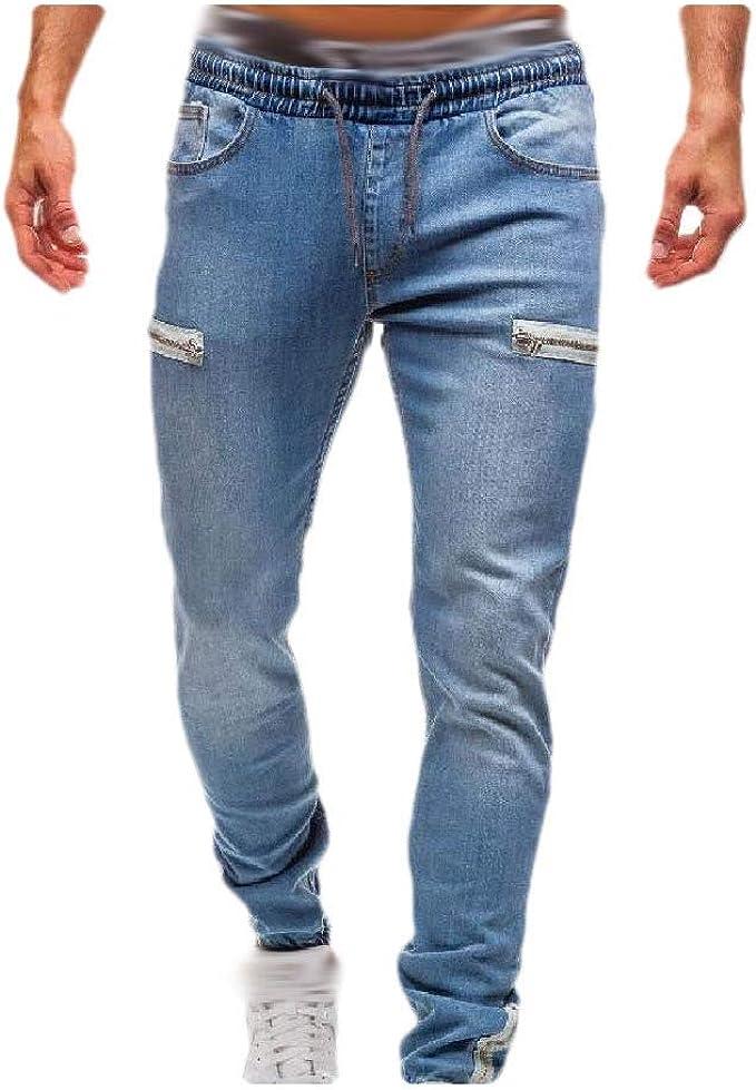 cheelot Mens Mid Waist Pockets Denim Drawstring Casual Loose Joggers Pants