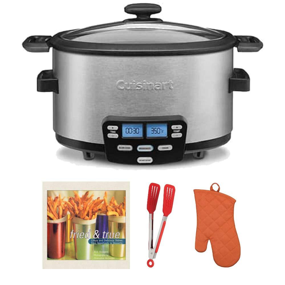 Cuisinart MSC-400FR 4 Quart Multifunction Cooker Includes Flipper Tongs, Oven Mitt and Cookbook Bundle (Certified Refurbished)