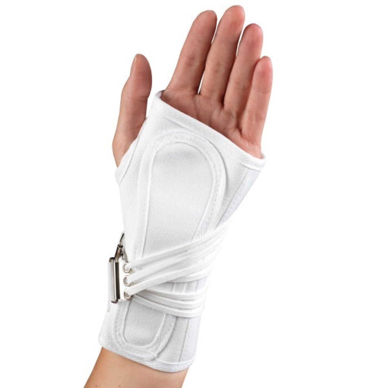OTC Wrist Splint, Cock-Up Lacing, Canvas, ProChoice, White, Small (Left Hand)