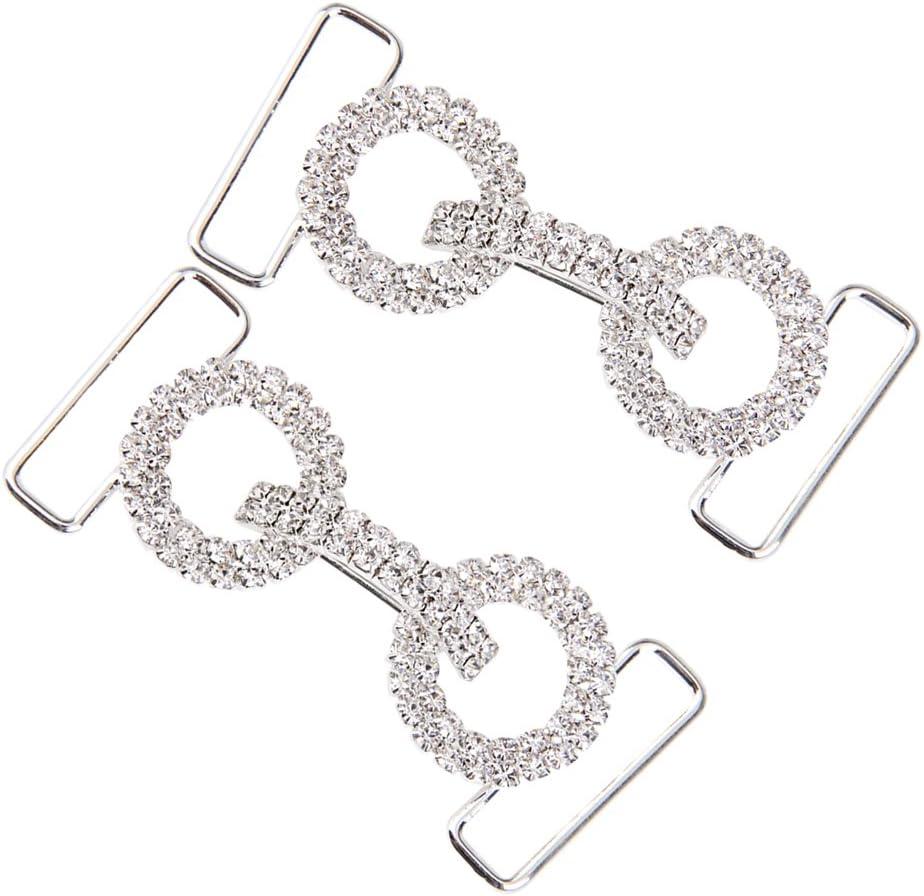 Hellery Doppelring Crystal Strass Bikini Bademode Connector Verschluss Schnalle Silber