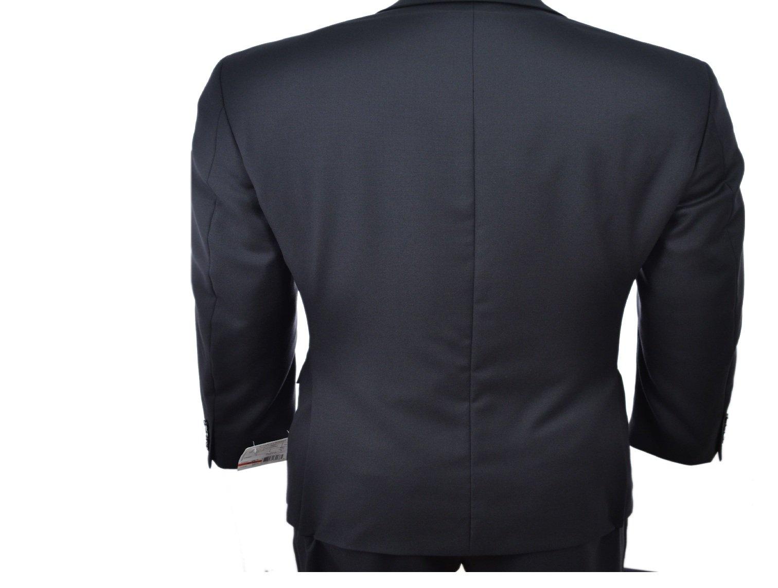 Calvin Klein Slim Fit Black Solid Two Button Wool New Men's Suit Set (44R 40W x 32L) by Calvin ` Klein (Image #3)