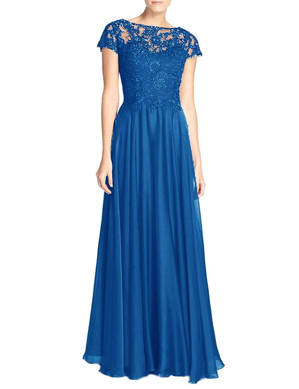 bluee Mother of The Bride Dresses with Short Sleeves Plus Size Mother Gowns and Evening Dresses Formal Dress
