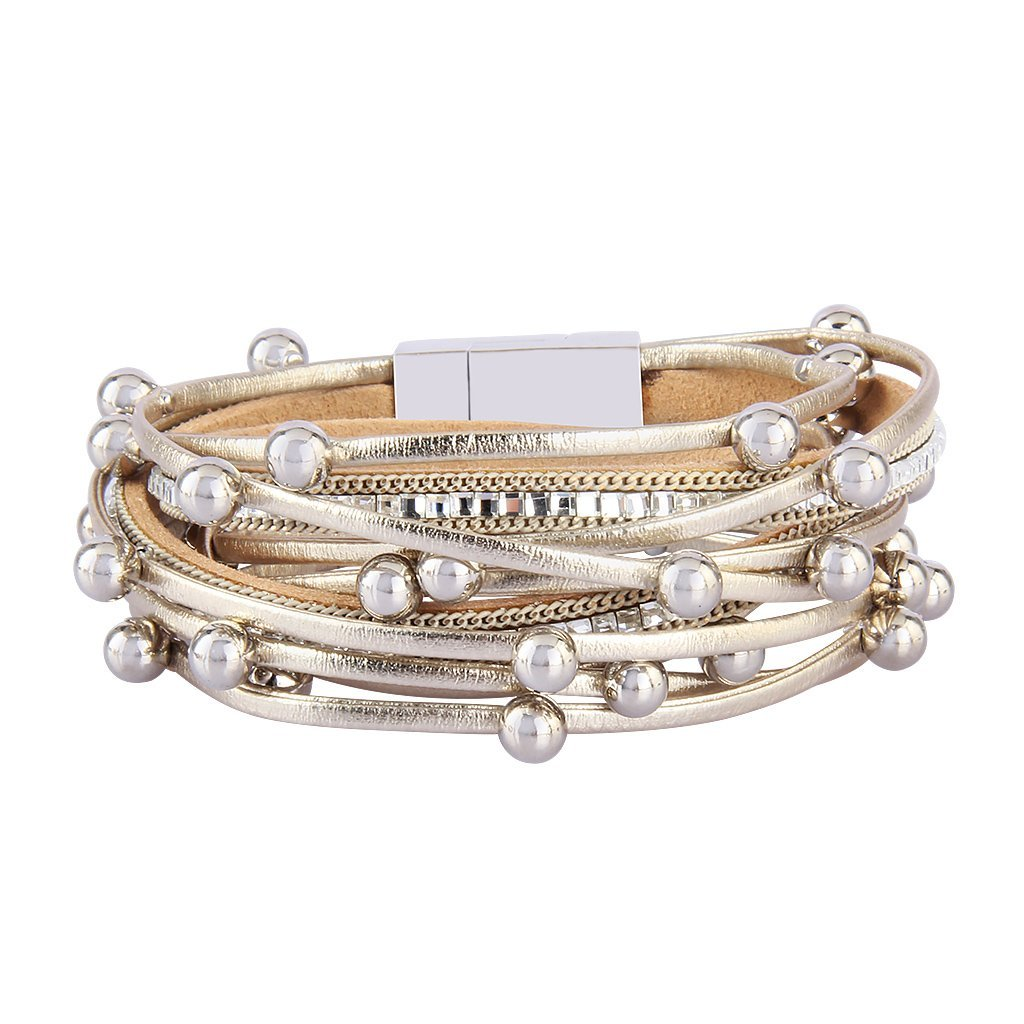 TASBERN Multilayer Wrap Bracelet with Crystal Beads Gold Leather Rope Cuff Bangle with Magnetic Clasp for Women Girls Teens Gift
