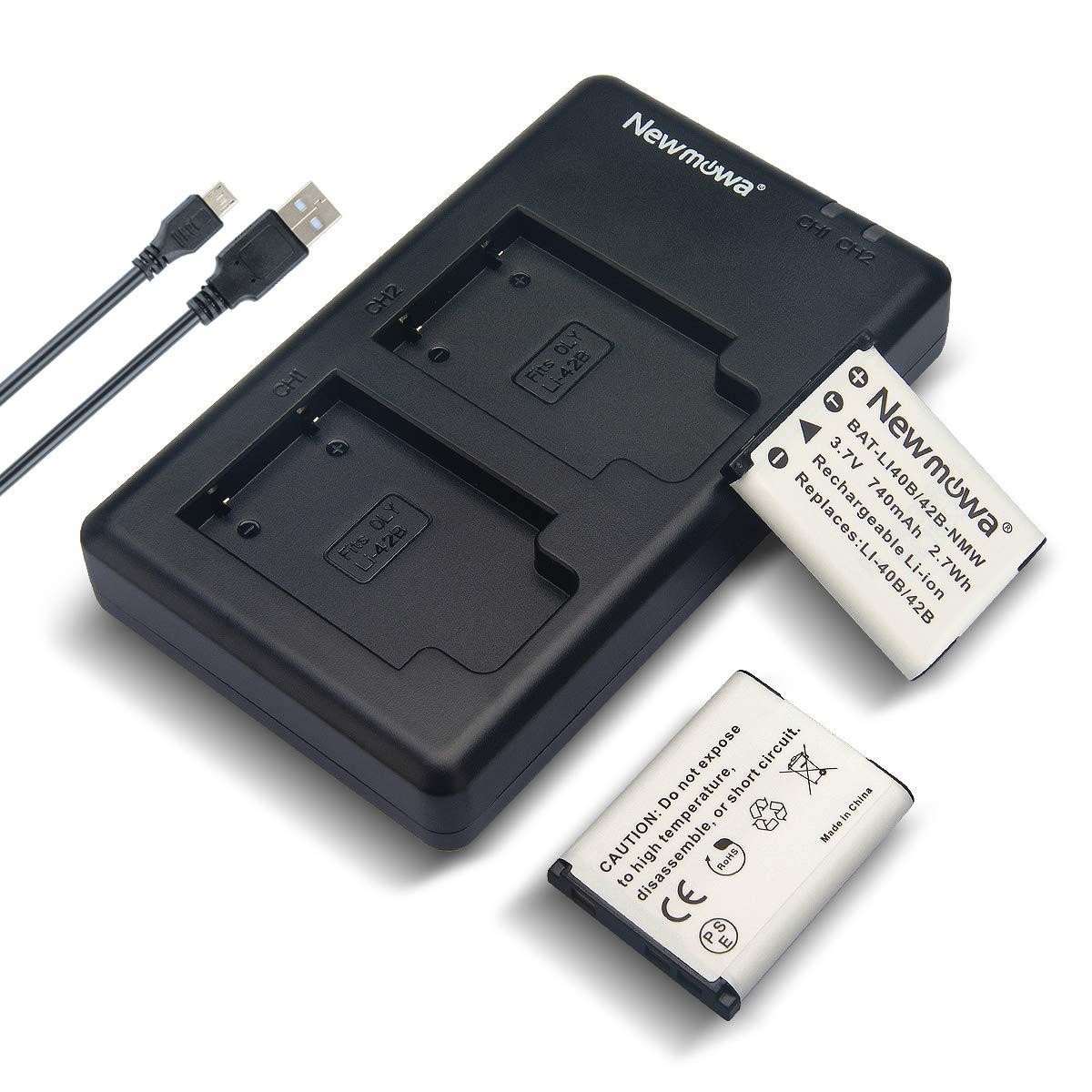 Newmowa Li-42B Battery (2 Pack) and Dual USB Charger Kit for Olympus Li-42B/Li-40B,Fujifilm NP-45S and Olympus Stylus 1040 1050W 1060 1070 1200 7000 7010 7020 7030 7040 Tough 3000 TG-310 TG-320 VR310 by Newmowa
