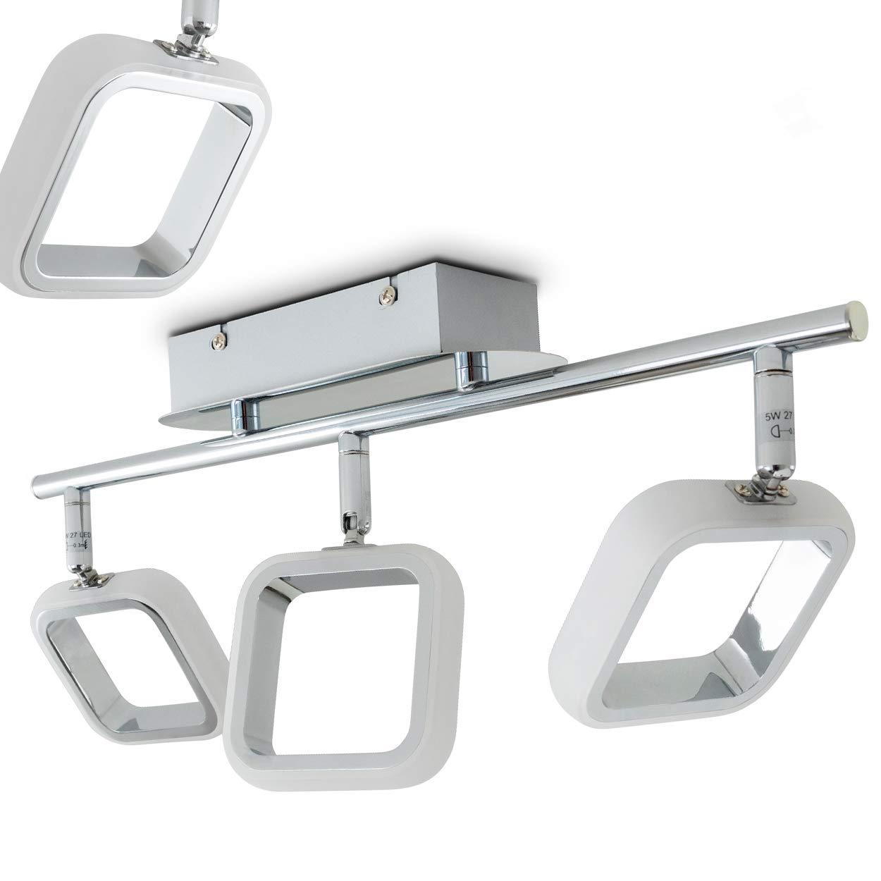 LED Deckenleuchte Myto, Deckenlampe in Chrom, 3-flammig mit verstellbaren Leuchtenköpfen, 3 x 5 Watt, 400 Lumen (1200 Lumen insgesamt), 3000 Kelvin (warmweiß)