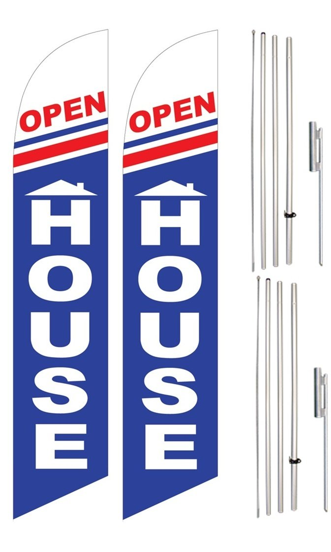 Windless Swooper Flag & Pole Kit Twin Pack OPEN HOUSE Home Red White Blue