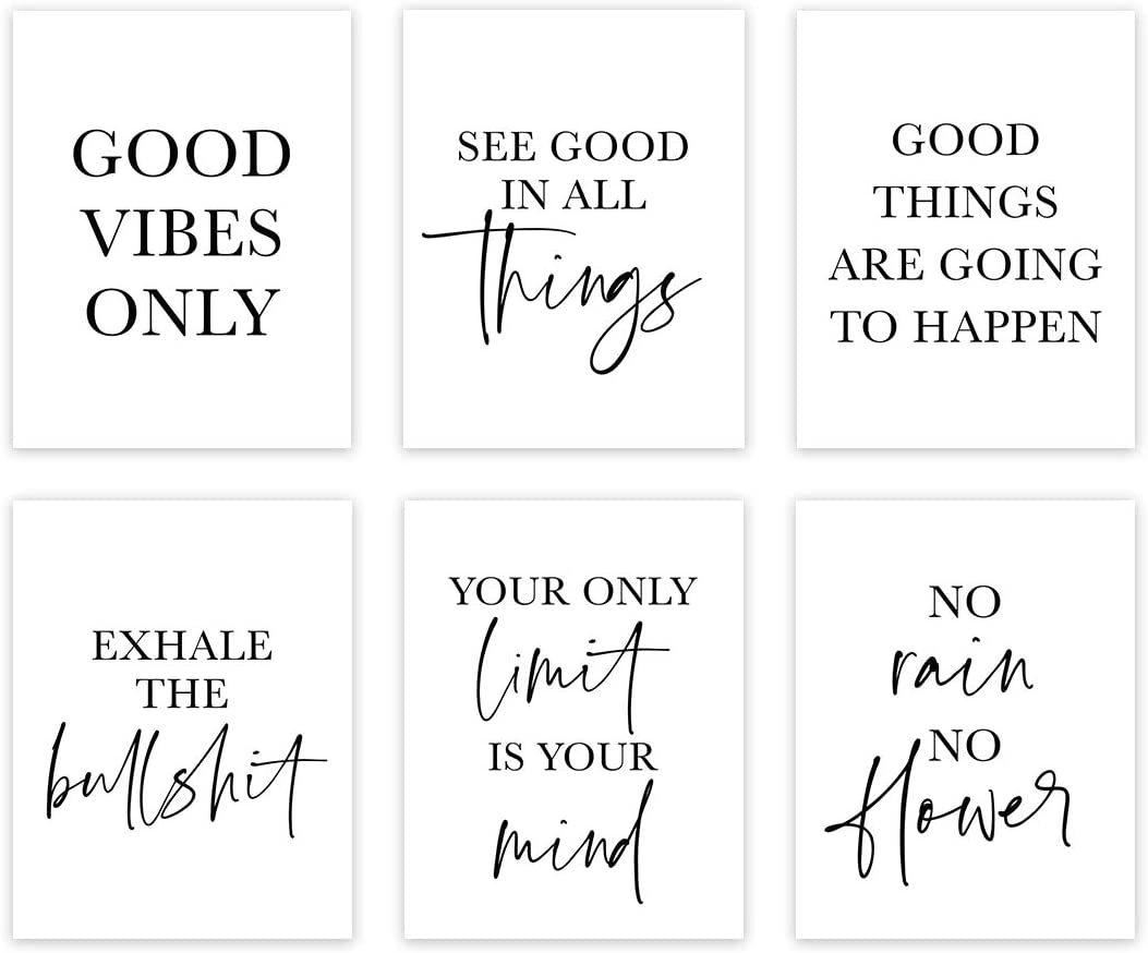 Andaz Press Black White Modern Theme Motivational Inspirational Quotes Wall Art Room Decor, 8.5x11-inch, Good Vibes Only, Exhale The Bullshit, See Good in All Things, 6-Pack, Unframed Hanging Poster