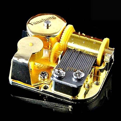 VANKER Movimiento de bricolaje chapado en oro de viento de hasta caja de música Cinco canciones