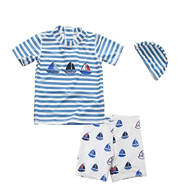 7fdc2f386 Baby Boy Swimsuit Set Toddler Two Pieces Swimwear Rash Guards Sun  Protection Surf Kids Bathing Suit