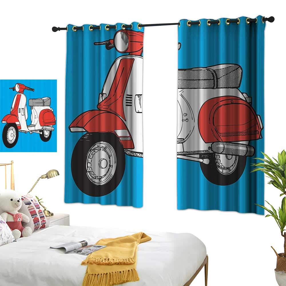 Warm Family Blue Curtains Funky Decor,Cute Scooter Motorcycle Retro Vintage Vespa Soho Wheels Rome Graphic Print,Blue Red White 54''x84'',Window Treatment Pair for Bedroom by Warm Family