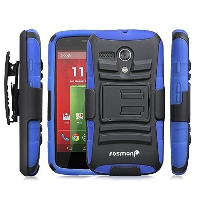 Fosmon® Motorola Moto G (1st Gen) Funda (STURDY) Híbrido Heavy Duty Duro Caso Carcasa de con Soporte y Cubierta con Clip de Cinturón para Motorola ...