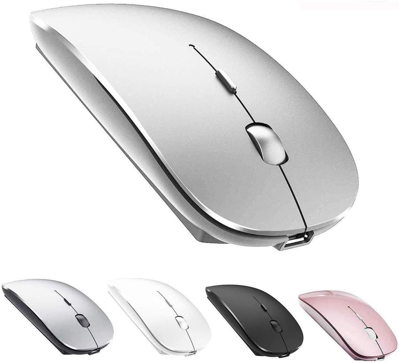 Amazon Com Wireless Mouse 2 4g Slim Silent Click Noiseless Optical Mouse Wireless Mouse For Laptop Macbook Pro Notebook Desktop Pc 2 4g Mouse Silver Electronics