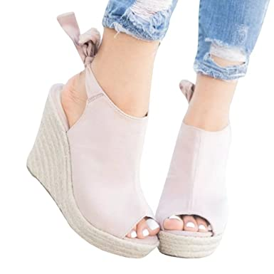 d3be35fdd63 Meilidress Womens Espadrille Wedge Heels Peep Toe Sandals Platform Ankle  Tie Up Strap Summer Suede Shoes