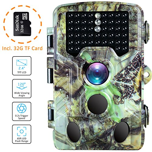 Single Card Ghost (BanffCliff Trail Camera 16MP 1080P Hunting Cam w/ 32GB microSD Card, 46PCs IR LEDs 65FT Night Vision, 120° Wide Angle HD 0.2S Trigger Time 2.4