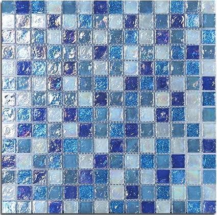 Mediterranean Glass Tile Iridescent Blue Glass Wall Art Mosaic For ...