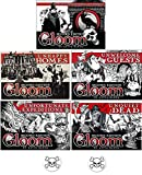 Gloom Card Game Bundle of Gloom, Unhappy Homes, Unwelcome Guests, Unfortunate Expeditions, and Unquiet Dead Second Edition Plus 2 Bonus Skull Buttons