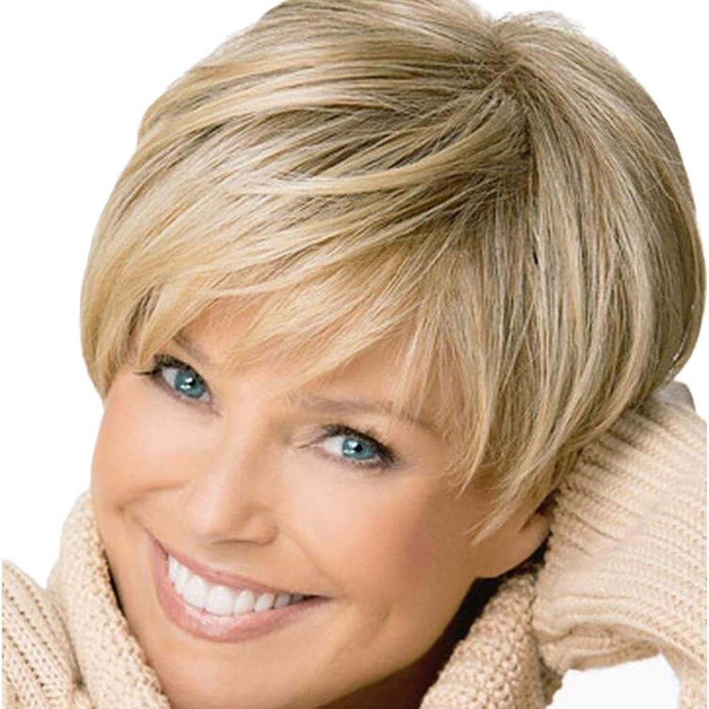 Fudule Women Wigs, Short Straight Hair Wig for Women with Bangs Heat Resistant Full Hair Synthetic Human Hair Wigs