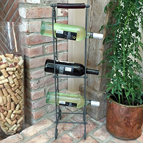 Tower Wine Rack - The French Country Style Wine Rack for 6 Bottles / Rolled-Towel Tower, Cast Iron, Anthracite Black Finish, Rustic Wooden Handle, Freestanding, 28 ¾ Inches Tall, (73cm H) By Whole House Worlds.