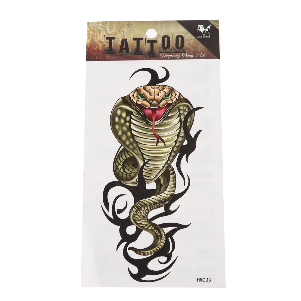 Chic-Net Klebetattoo Schlange Kobra gr/ün grau Tribal schwarz gro/ß 1 Motiv 1 Bogen