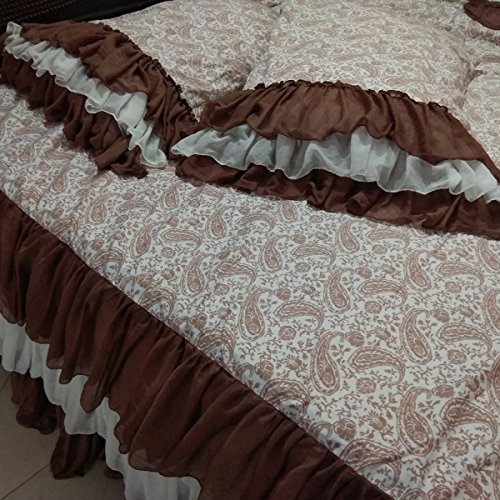 "Layered Ruffled Paisley Queen Size 20"" drop White Brown Printed Fitted Valance Skirted Sheet with standard pillow cases"