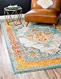 Unique Loom Traditional 4 feet by 6 feet (4′ x 6′) Arte Blue Area Rug For Sale
