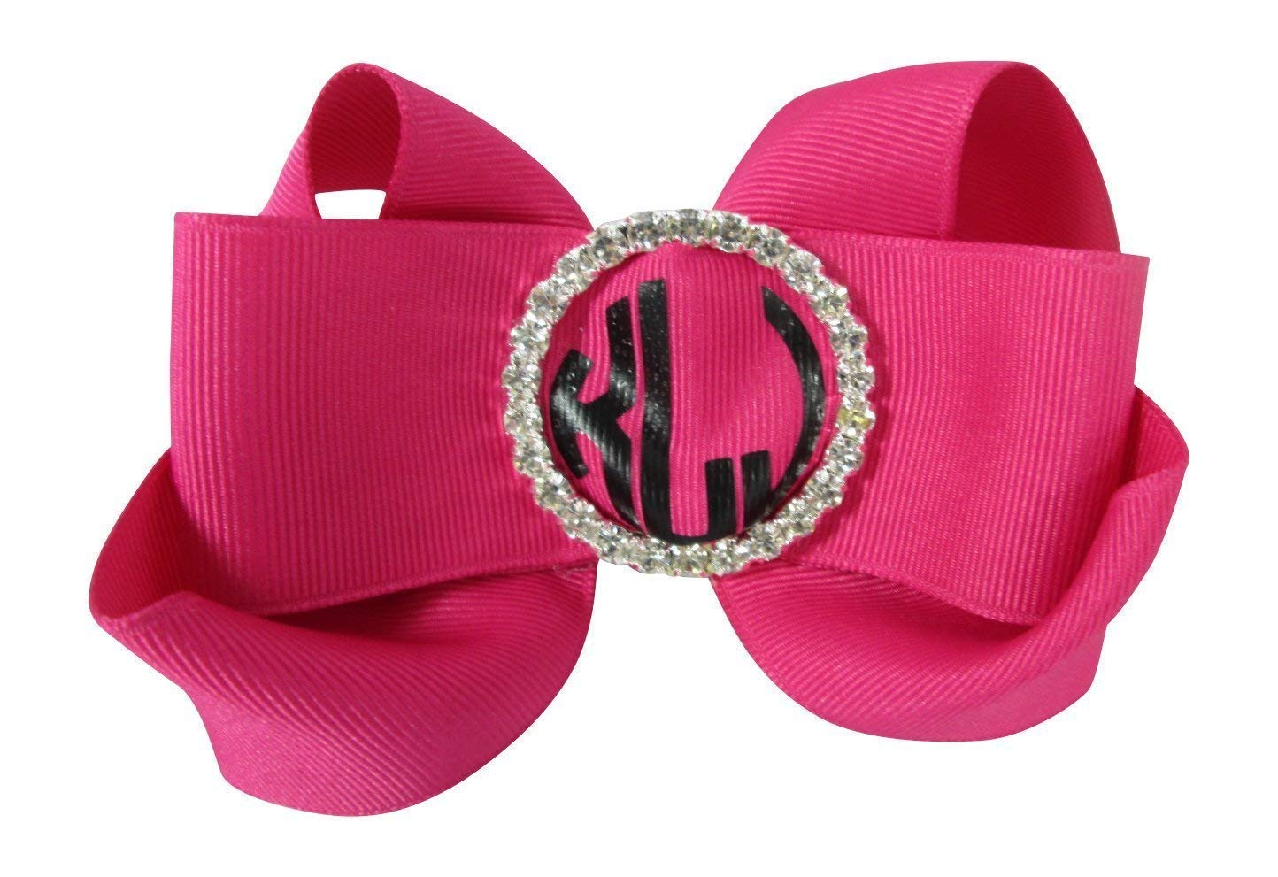 Monogram Bling Hair Bow for Girls with Customized Ribbons