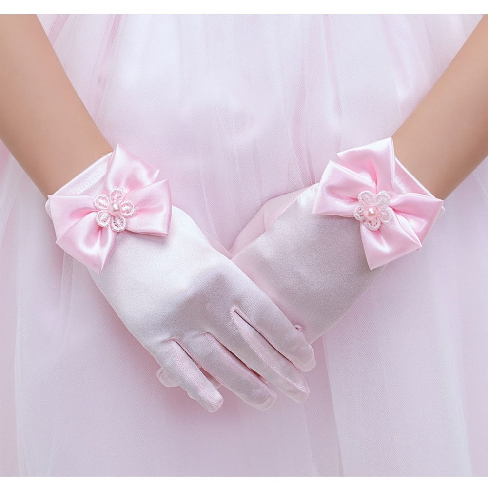 SlenyuBridal Girl's Satin Short Communion Gloves for Formal Party Wedding Pageant LGZ110802