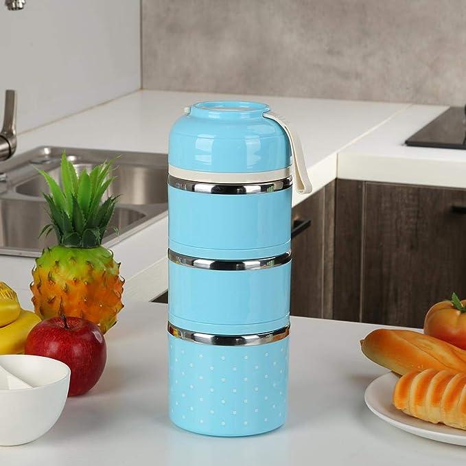 escuela apilable 800 ml 1 Layer azul Prosperveil oficina para ni/ños adultos con asa a prueba de fugas Fiambrera t/érmica de acero inoxidable con aislante Bento para alimentos calientes