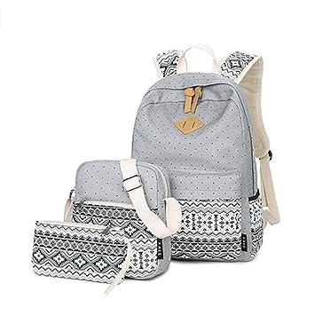 Casual Canvas Schulrucksack Set+Schultertasche +Geldbeutel/Mäppchen Causal Rucksack Freizeitrucksack Daypacks Backpack für Mä