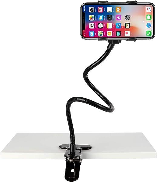 Slopehill Gooseneck Phone Holder for iPhone X XR XS 8 7 Plus Samsung Galaxy S10, Cell Phone Clip Holder for Bedroom Desktop Office Bathroom Kitchen